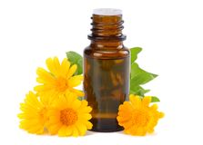 aromatherapy ουσιαστικό πετρέλαιο με marigold τα λουλούδια που απομονώνονται στο άσπρο υπόβαθρο Στοκ φωτογραφία με δικαίωμα ελεύθερης χρήσης