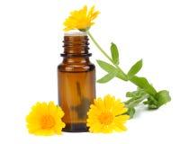 aromatherapy ουσιαστικό πετρέλαιο με marigold τα λουλούδια στο άσπρο υπόβαθρο Στοκ Εικόνα