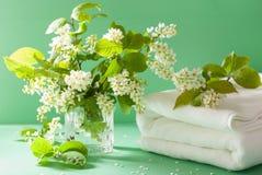 Aromatherapy πετσέτα λουλουδιών ανθών κερασιών πουλιών SPA Στοκ φωτογραφίες με δικαίωμα ελεύθερης χρήσης