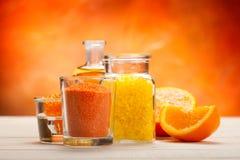aromatherapy πορτοκαλί άλας λουτρ Στοκ Φωτογραφίες