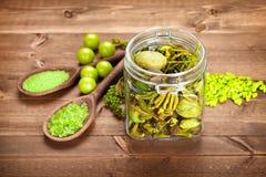 aromatherapy πράσινο άλας λουτρών Στοκ Εικόνα