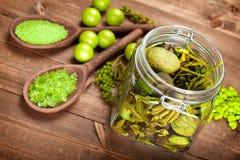 aromatherapy πράσινο άλας λουτρών Στοκ εικόνες με δικαίωμα ελεύθερης χρήσης