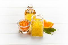 aromatherapy соль померанца ванны Стоковое фото RF