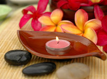 Aromatherapy. Aromatic candle and tropical red frangipanis Stock Images