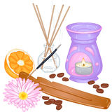 Aromatherapy. Accessories for spa and aromatherapy. Vector illustration  on white background Royalty Free Stock Photo
