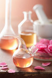 Aromatherapy and alchemy with pink flowers. Aromatherapy and alchemy with pink flower Stock Photos