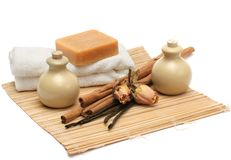 Aromatherapy & schoonmakende producten stock afbeeldingen