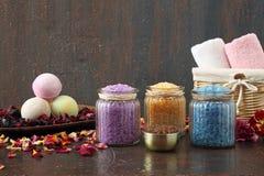 Aromatherapy assorted bath salts stock photo