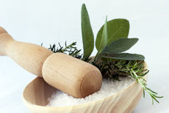 Aromatherapy - bath salt, sage and rosemary Stock Photos