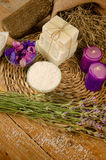 Aromatherapy bath salts and soap Stock Images