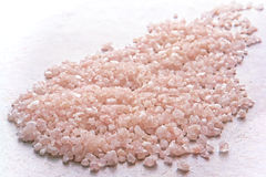 Aromatherapy Bath Salts Spill on Bathroom Tile Stock Image