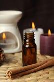 Aromatherapy - bougies et cannelle Photographie stock libre de droits
