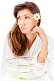 Aromatherapy bowl and brunette woman. Isolated on white background Stock Photography