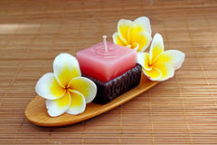 Aromatherapy candle. With fresh frangipani flower for spa Stock Photos