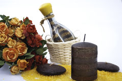 Aromatherapy candle and flowers Stock Photography