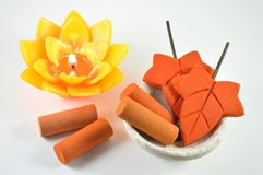Aromatherapy candle and incense, Thailand Royalty Free Stock Images