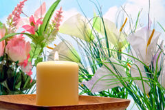 Aromatherapy Candle in a Spring Flower Garden stock images