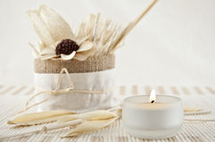 Aromatherapy with candles Royalty Free Stock Images