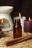 Aromatherapy - candles and cinnamon Royalty Free Stock Photography