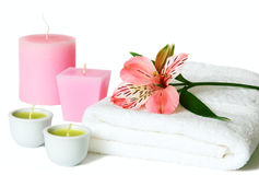 Aromatherapy with candles and orchids Stock Photography