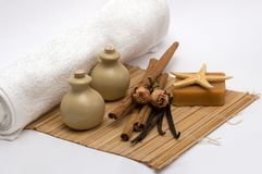 Aromatherapy & cleaning products. Still-life with products of an aromatherapy and spa Stock Image