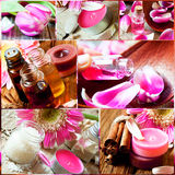 Aromatherapy Collage.Spa Essences Settlement Royalty Free Stock Photo