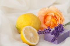 Aromatherapy con el limón, color de rosa y la lavanda Imagen de archivo libre de regalías