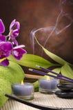 Aromatherapy con los palillos del incienso de la lavanda Fotos de archivo