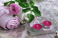 Aromatherapy concept. With roses and candles Royalty Free Stock Image