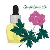 Aromatherapy d'illustration de vecteur d'huile essentielle de géranium illustration de vecteur