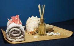 Aromatherapy dans la station thermale avec la serviette et la coquille roses Image stock