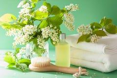 Aromatherapy del balneario con el cepillo del aceite esencial de la flor de cerezo del pájaro a Foto de archivo libre de regalías