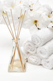 Aromatherapy diffuser with towels Stock Photography