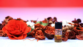 Aromatherapy dry flowers and perfume Royalty Free Stock Photography