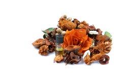 Aromatherapy dry flowers and perfume stock photo