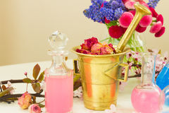 Aromatherapy - dry flowers and potions Royalty Free Stock Image