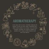 Aromatherapy en van de etherische oliënbrochure malplaatje Vectorlijnillustratie van aromatherapy verspreider, oliebrander, kuuro Royalty-vrije Stock Foto