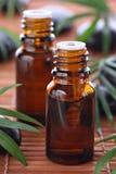 Aromatherapy, essentiële olieflessen Stock Foto's