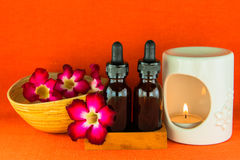 Aromatherapy essential oil and the burner Stock Photos