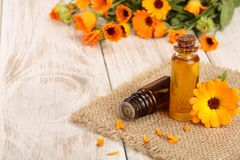 Aromatherapy essential oil with fresh marigold flowers on white wooden background. Calendula oil Royalty Free Stock Photography