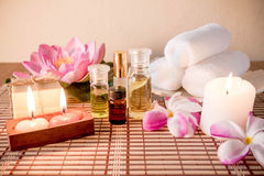 Aromatherapy essential oil, natural soap and lilac flower Royalty Free Stock Images