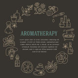 Aromatherapy and essential oils brochure template. Vector line illustration of aromatherapy diffuser, oil burner, spa candles, inc. Ense sticks, herbal bag Royalty Free Stock Photo