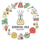 Aromatherapy and essential oils brochure template. Vector line illustration of diffuser, oil burner, spa candles. Incense sticks, herbal bag massage. Circle stock illustration