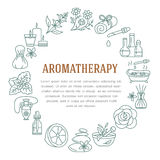 Aromatherapy and essential oils circle template. Vector line illustration of aromatherapy diffuser, oil burner, spa candles, incen Royalty Free Stock Photos