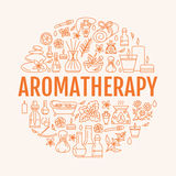 Aromatherapy and essential oils circle template. Vector line illustration of aromatherapy diffuser, oil burner, spa. Candles, incense sticks, herbal bag massage Royalty Free Stock Image