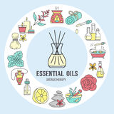 Aromatherapy and essential oils circle template. Vector line illustration of aromatherapy diffuser, oil burner, spa candles, incense sticks, herbal bag massage Royalty Free Stock Photos