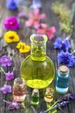 Aromatherapy. essential oils and medical flowers and herbs royalty free stock photography