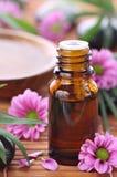 Aromatherapy Flasche mit rosafarbenen Blumen Stockfotografie
