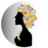 Aromatherapy Flower Girl. Silhouette of a girl's head with a hairdo of pretty flowers royalty free illustration