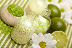 Aromatherapy - Flowers and bath salt Stock Photos